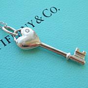 SALE Lovely Tiffany & Co. Silver Diamond Heart Key Pendant & Chain