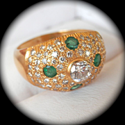 SALE Magnificent! 22K Gold 1.30 ct. Diamond Emerald Boule Ring