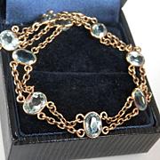 Exquisite 10K Gold Blue Topaz Double Link Bracelet