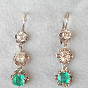 Fantastic 14 White Gold 1.10 Diamond Emerald Drop Earrings