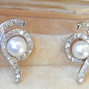Stunning! 14K White Gold Pearl Diamond Swirl Earrings