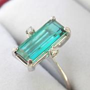 SALE Elegant 18K White Gold 2.20 ctw Green-Blue Tourmaline Diamond Ring