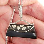SALE Fab 18K WG Diamond Onyx Handbag Pendant Enhancer or Zipper Pull/Charm
