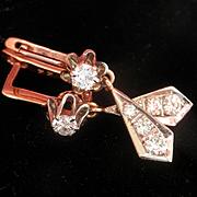 SALE Terrific Russian 14K Gold Diamond Drop Earrings