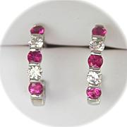 "SALE Terrific Designer Pink Sapphire Diamond 950 Platinum ""J"" Hoop Earrings"