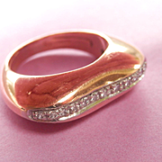 SALE Beautiful Nouvelle Bague 18K Rose Gold Heavy Diamond Ring