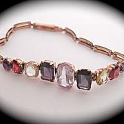 SALE Fabulous Victorian 9CT 9K Multi Gem Bracelet ~ Amethyst, Citrine, Garnet, Spinel