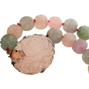 Lovely Hand-Carved Vintage Chinese Fluorite Rose Quartz Necklace
