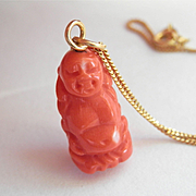 SALE Beautiful 18K Gold Hand-Carved Coral BUDDHA Pendant