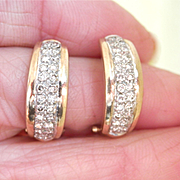 SALE Lovely 9K Gold 9CT Gold Diamond Pavé Half Hoop Earrings