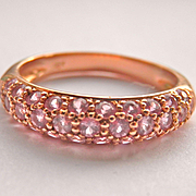 SALE Lovely 18K Rose Gold Pink Sapphire Pavé Band Ring