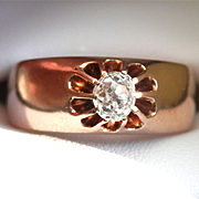 SALE ~Terrific Victorian 14K Rose Gold 0.40 ct. Old Mine Cut Diamond Belcher Ring ~