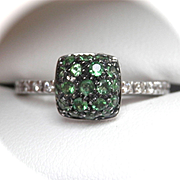 SALE Lovely 18K W/Gold Tsavorite 0.66 ctw. Diamond Ring