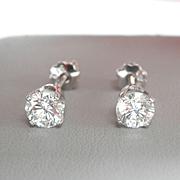 Fabulous 14K W/Gold 1.02 CTW. Diamond Stud Earrings