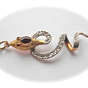 Terrific Antique 18K Two-toned Gold Snake Pendant Garnet Eye