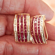 Wonderful 14K Y/Gold Ruby Diamond Omega earrings