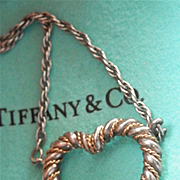 SALE Tiffany & Co Silver 18K Y/Gold Heart Twisted Rope Necklace