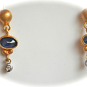 Elegant 24K/18K Gold Kurtulan Sapphire Diamond Drop Earrings