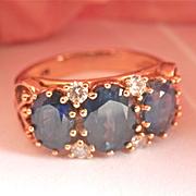 SALE Beautiful 9K Y/Gold Three-stone 2.75 CTW Sapphire Diamond Vintage Ring