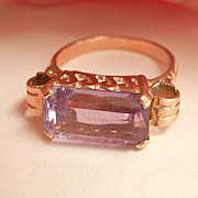 Unusual Design 14K Y/Gold Ornate Amethyst Ring