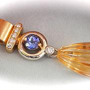 Fantastic Large Hand-made 18K Gold Tanzanite, Hand-Carved Citrine Diamond Pendant