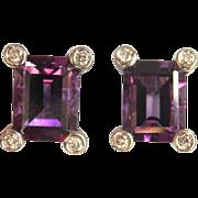 Beautiful 14K W/Gold Deep Purple 2.00 ctw. Amethyst Diamond Earrings