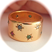 Amazing 18K Y/Gold Heavy Diamond, Ruby, Emerald, Sapphire Star Band Ring