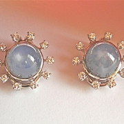 Stunning Estate 18K W/Gold & Palladium Star Sapphire Diamond Omega Earrings