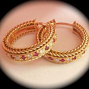 Quality 18K Y/Gold Ruby Diamond Hoop Earrings~11 grams!