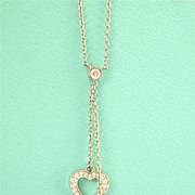 ~Exquisite Tiffany & Co. Platinum Diamond Double Heart Lariat Necklace~