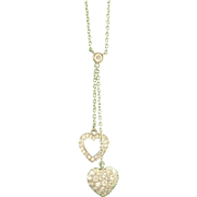~Exquisite Tiffany & Co. Platinum Diamond Double Heart Lariat Necklace~