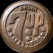 Brass 7UP Advertising Sidewalk Safety Marker
