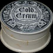 Transferware Cold Cream Ironstone Pot Lid