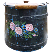 Gorgeous Tole Painted Wooden Firkin Bucket