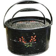 SALE Wonderful Tole Painted Bait Bucket With Removable Liner