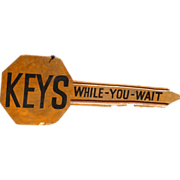 SOLD Figural Wood KEY Double Sided Trade Sign