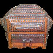 Slide Top Chip Carved Tramp Art Box W/Drawer