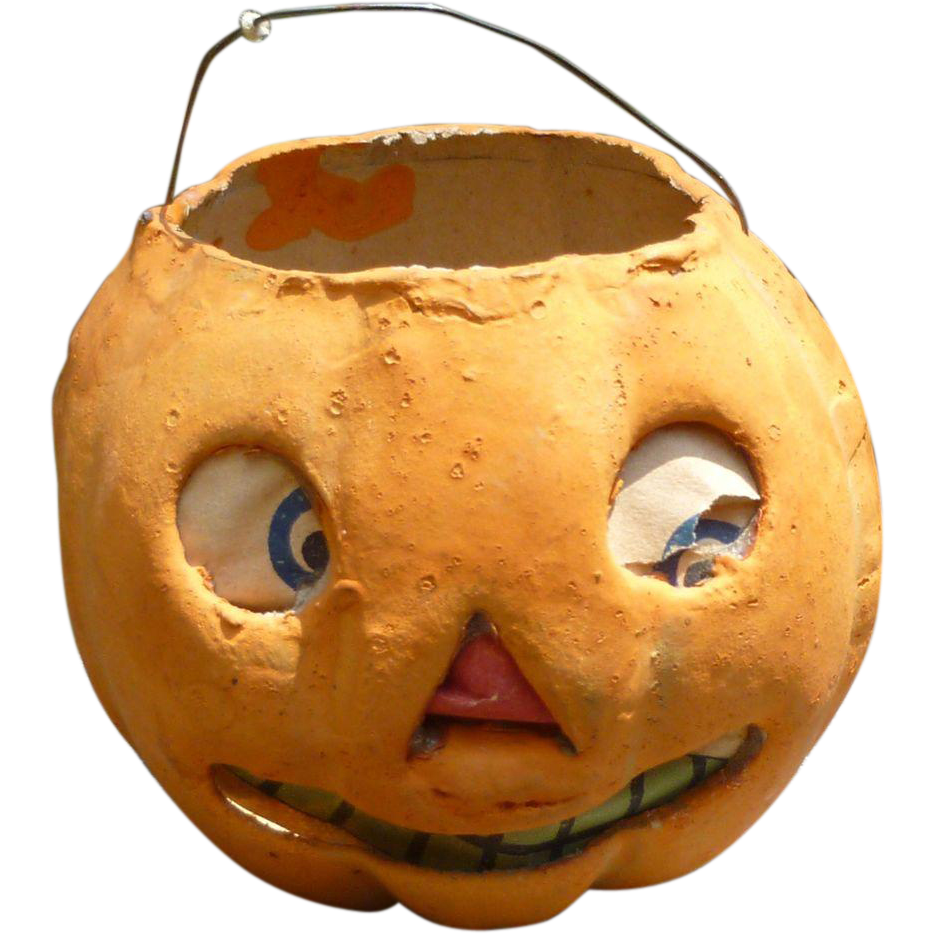 German halloween paper mache pumpkin lantern for Papier mache lanterns