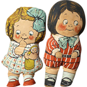 Peggy And Teddy 1940's Pair Of Dean's Rag Dolls