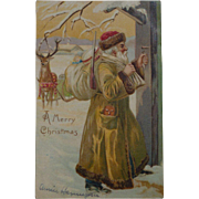 Santa Claus Belsnickle In Gold Robe Christmas Postcard