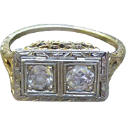 14K Two Diamond Ring In Exquisite Setting