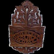 SALE Antique Carved Black Forest God Bless Our Home Letter Holder