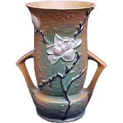 SALE Roseville 10 Inch Magnolia Handled Vase
