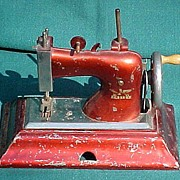 Vintage Red Metal Child's Sewing Machine Made In Germany