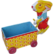 SALE Early J Chein Easter Bunny And Cart Tin Litho Candy Container