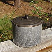 Graniteware Berry Pail Tin Lid Bail Handle
