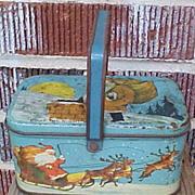Charming Christmas Santa Tindeco Tin Basket
