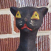 SOLD Perfect Halloween Sitting Cat Pulp Candy Container