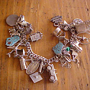 SALE 26 Charm Vintage Sterling Charm Bracelet Unusual Mechanical Charms