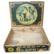SALE Black Americana Mason's Blacking Box